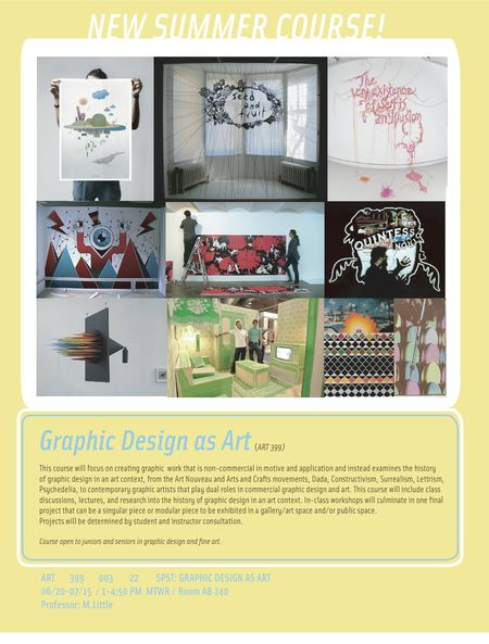 GRAPHIC DESIGN AS ART - SUMMER COURSE FLIER