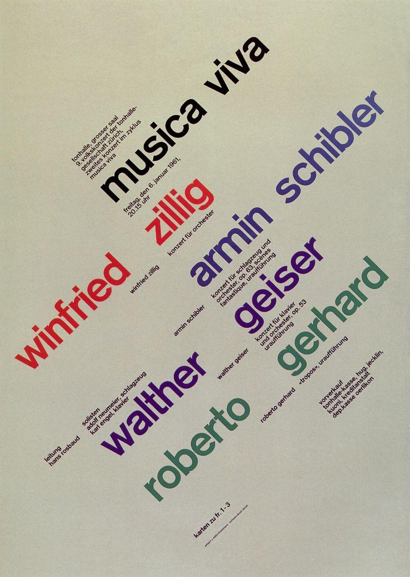 8. Zurich Tonhalle. musica viva. Concert poster, 1961