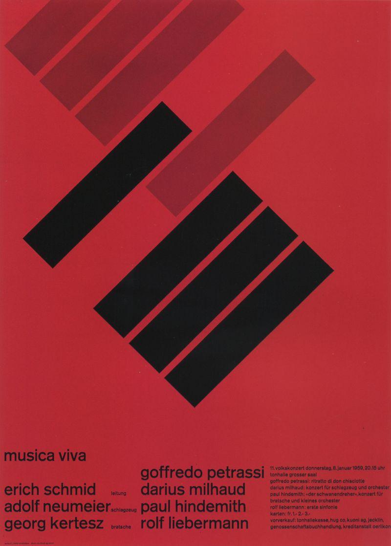 5. Zurich Tonhalle. musica viva. Concert poster, 1958